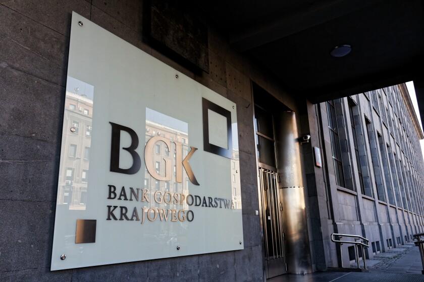 WARSAW/POLAND - OCTOBER 13, 2018: View on the entrance to National Economy Bank (Bank Gospodarstwa Krajowego, BGK)