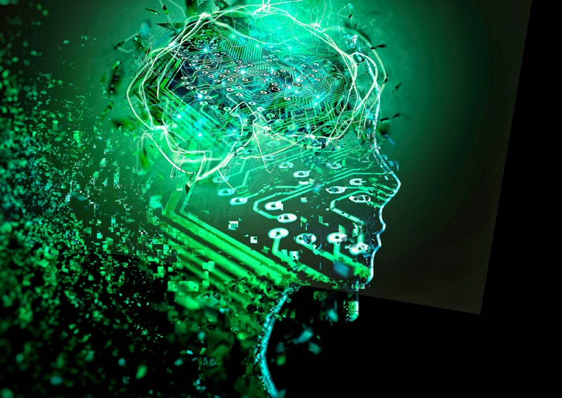 3D illustration of abstract green artificial intelligence