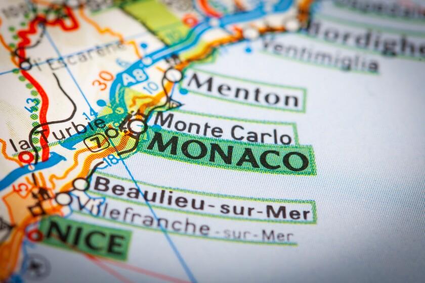 Monaco City on a Road Map