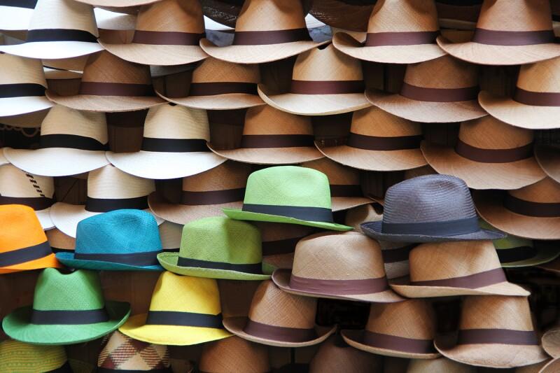 A selection of Panama hats, Cartagena, Colombia, Latin America.