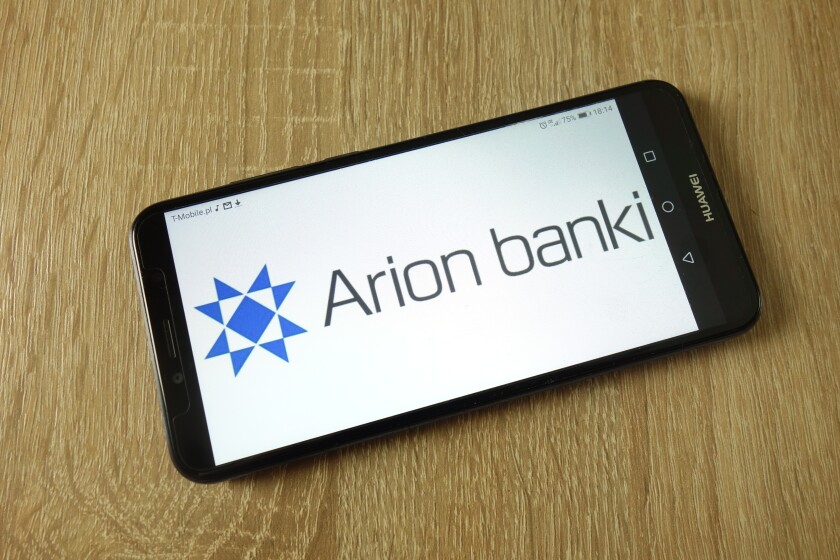 KONSKIE, POLAND - February 22, 2019: Arion Bank hf. logo displayed on smartphone