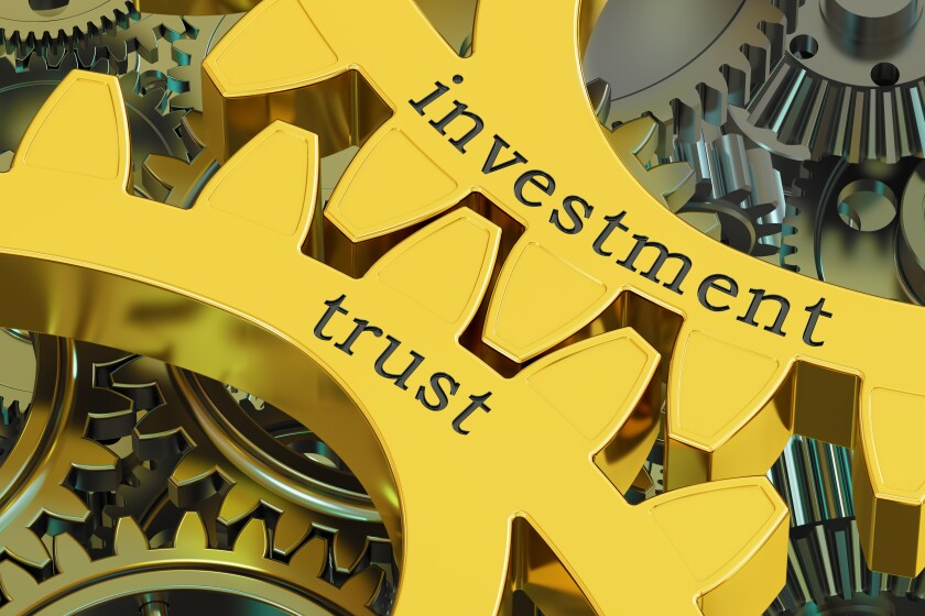 investment trust concept on the gearwheels, 3D rendering