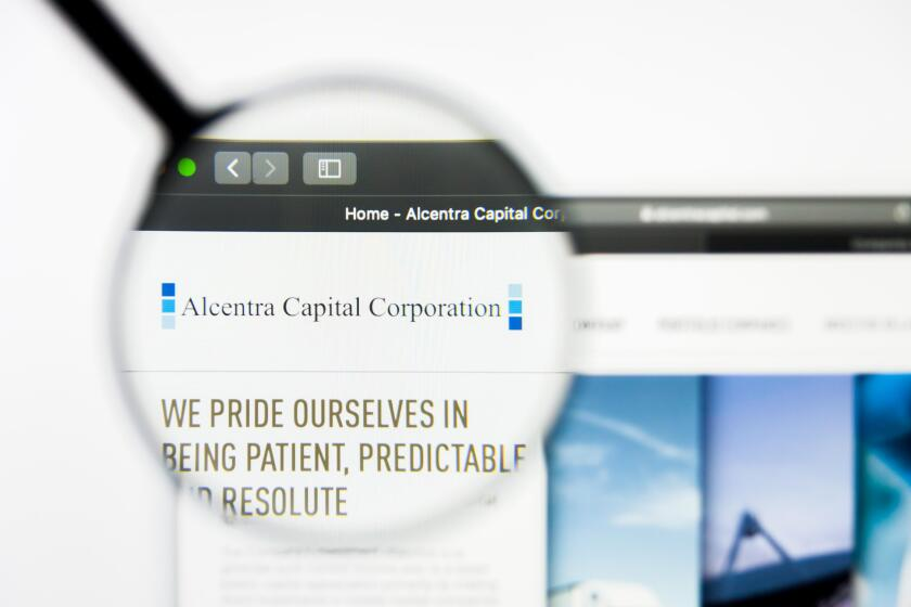 Richmond, Virginia, USA - 8 May 2019: Illustrative Editorial of Alcentra Capital Corp website homepage. Alcentra Capital Corp logo visible on screen.