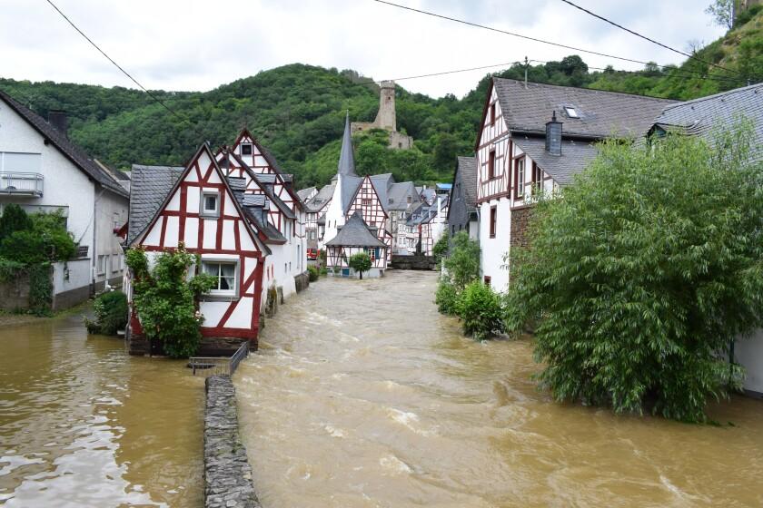 village center of Monreal in Elz flood, July 2021
