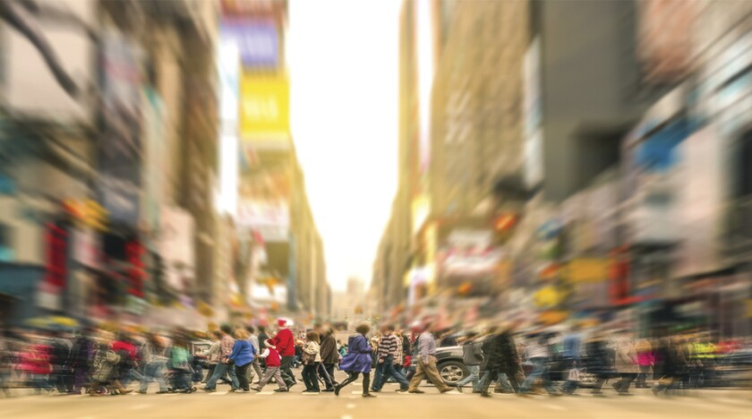 People walking and traffic jam in New York City Manhattan