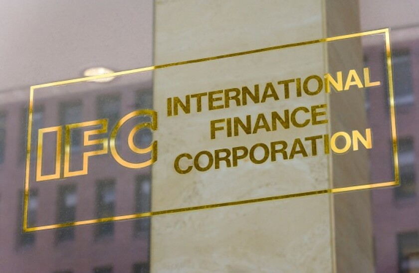 Logo sign of the IFC International Finance Corporation part of World Bank Worldbank Group on office building in Washington DC