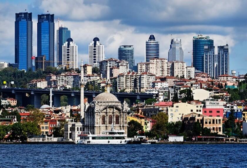 Istanbul skyline from Bosphorus Alamy 13May21 575x390