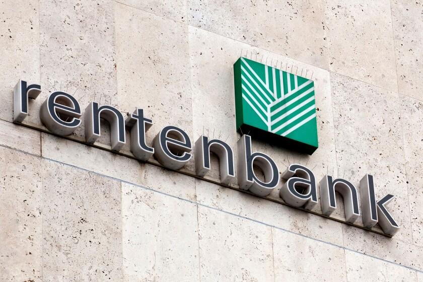 Logo of the Landwirtschaftliche Rentenbank, agricultural mortgage bank, on the headquarters' facade, Frankfurt am Main, Hesse