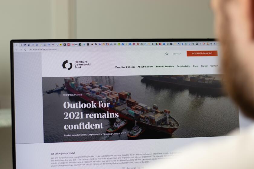 New York, USA - 1 May 2021: Hamburg Commercial Bank HCOB company website on screen, Illustrative Editorial