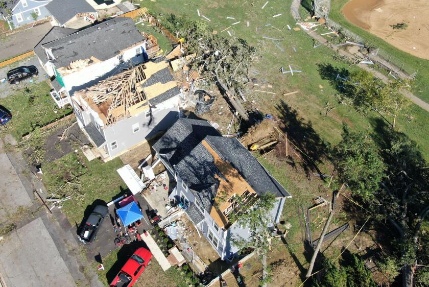 Edgewater, MD, USA. 2nd Sep, 2021. Aerial view of the tornado aftermath after southern Maryland was hit by two tornados, remnants of hurricane Ida that passed through the region the day prior . September 2, 2021 in Edgewater, Maryland. Credit: Mpi34/Media