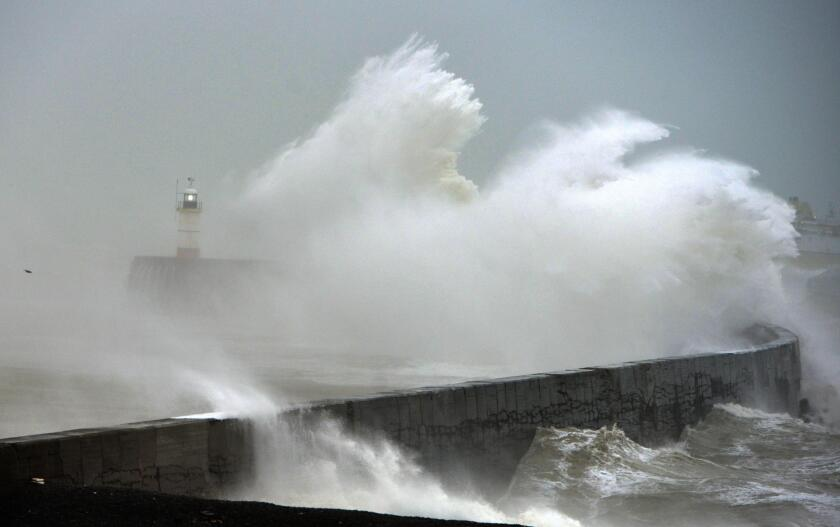 rough sea in Newhaven as a winter storm hits.