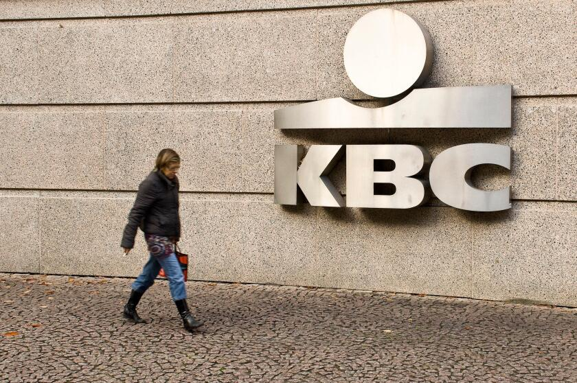 The Belgian bank KBC headquarters in the center of Brussels on October 27, 2008. KBC became on October 27 the latest Belgian bank to get its capital shored up by the Belgian state, which is to pump 3.5 billion euros (4.4 billion USdollars) into the group