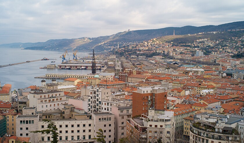 The Old Port and City Center of Trieste from Above