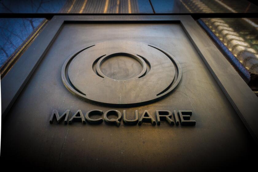 Bronze logo of Macquarie Bank in Australia