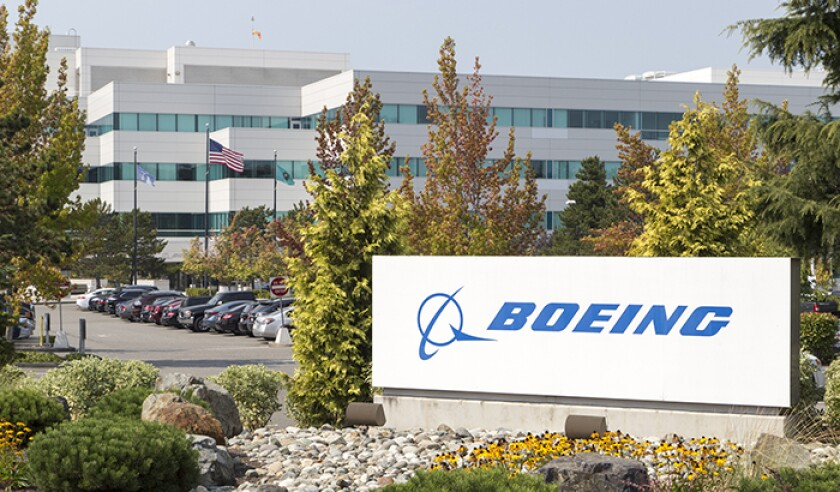 A Boeing building with a sign in Everett, Washington