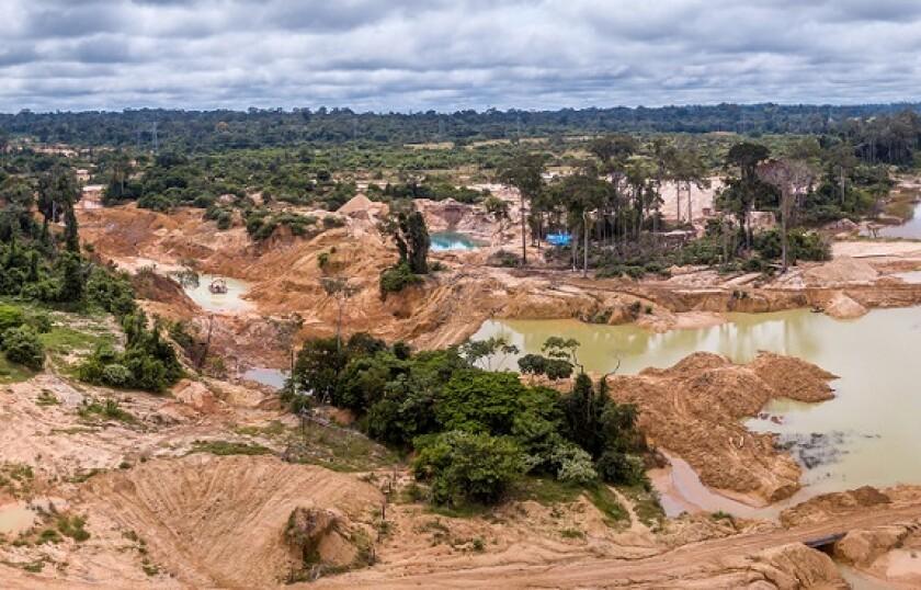 Amazon rainforest deforestation illegal gold mine from Adobe 4Nov20 575x375