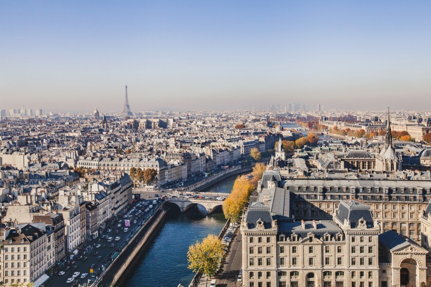 aerial view of Paris, panoramic scene of Seine river and Eiffel tower, France