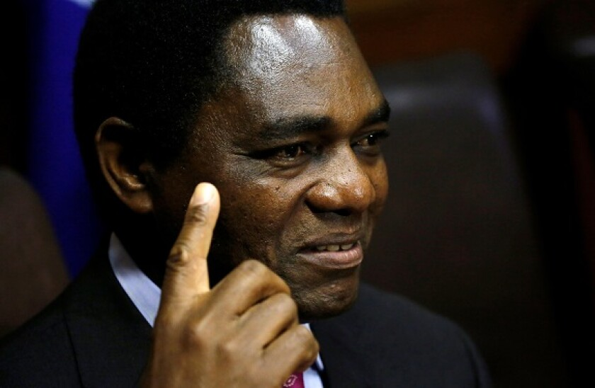 Hakainde Hichilema, leader of ZambiaOs opposition United Party for National Development (UPND), addresses a media conference in Cape Town, South Africa, August 31, 2017. REUTERS/Mike Hutchings