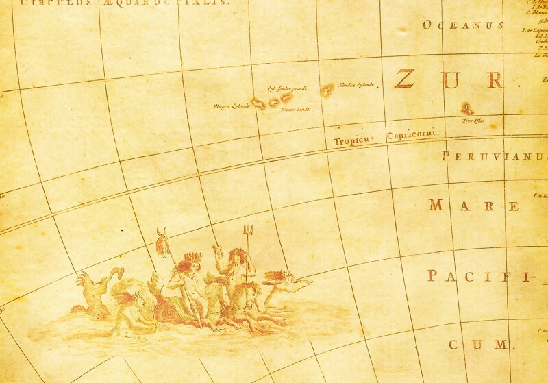 Antique Map Close-Up (High Resolution Image)