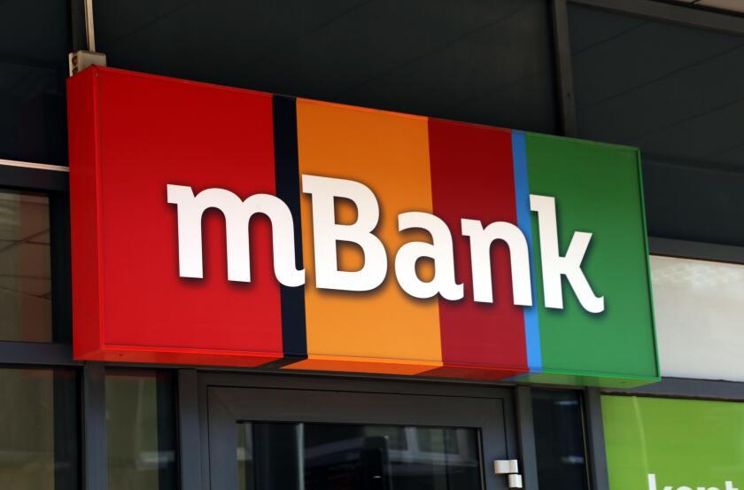 Cracow. Krakow. Poland. mBank logo on the facade of local office.